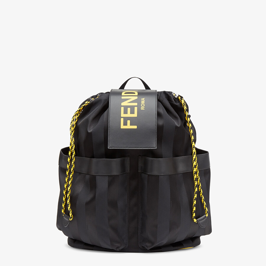 FENDI DRAWSTRING BACKPACK - Black nylon backpack - view 1 detail