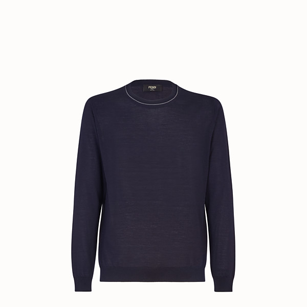 FENDI PULLOVER - Blue cashmere, wool and silk jumper - view 1 small thumbnail