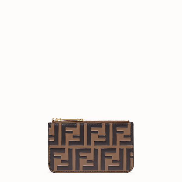 FENDI KEY RING POUCH - Brown leather pouch - view 1 small thumbnail