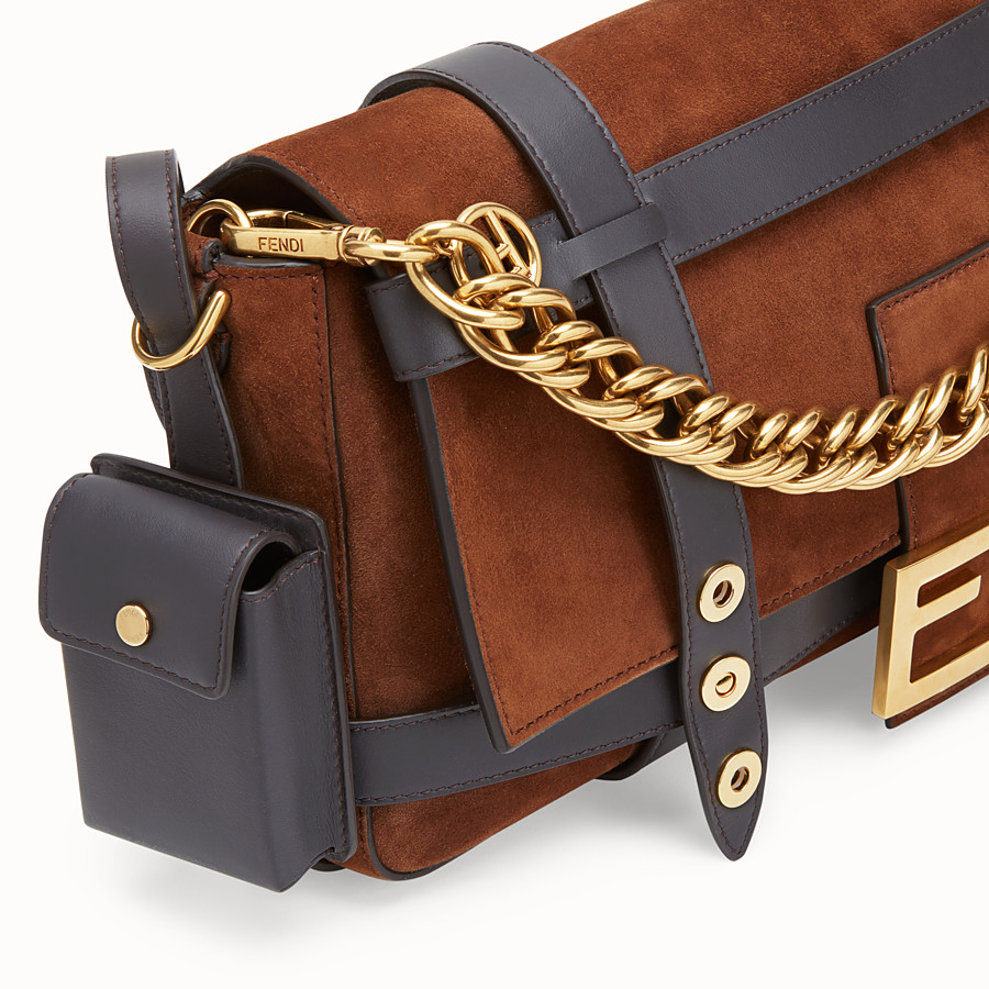 FENDI BAGUETTE WITH CAGE - Brown suede bag - view 7 detail