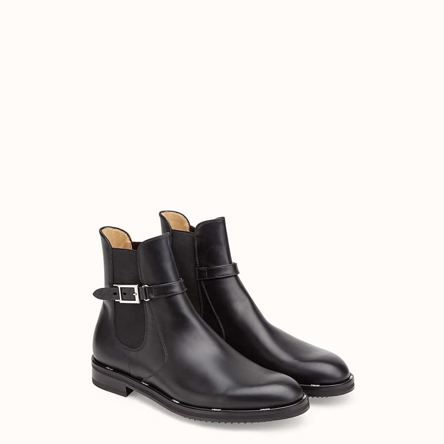 FENDI ANKLE BOOTS - Black leather ankle boots - view 4 detail