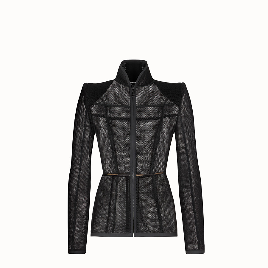 FENDI JACKET - Black micromesh jacket - view 1 detail