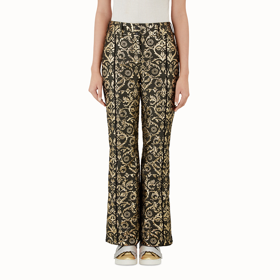 FENDI SKI TROUSERS - Padded trousers in gold brocade - view 1 detail