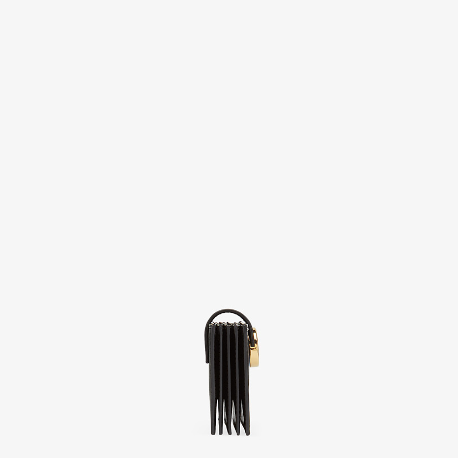 FENDI CARD HOLDER - Black leather gusseted card holder - view 3 detail