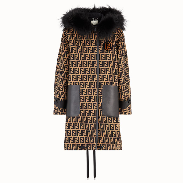 FENDI MANTEAU LONG - Grosse veste en laine multicolore - view 1 small thumbnail