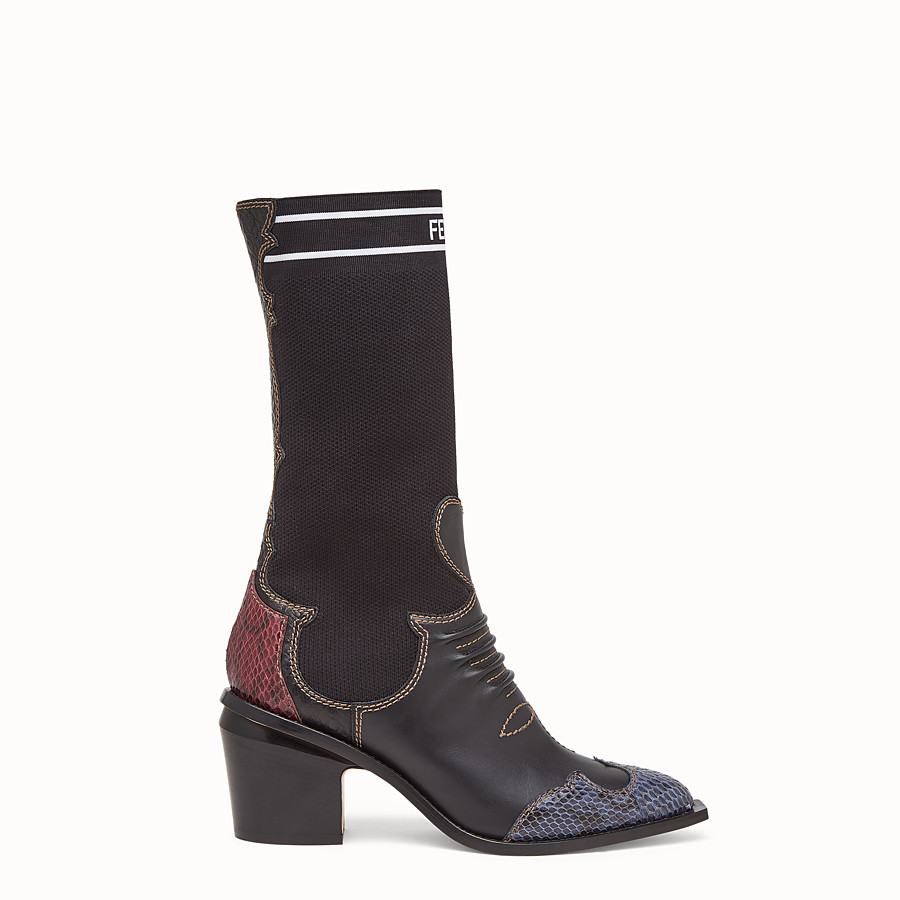 FENDI ANKLE BOOTS - Black leather ankle boots with exotic details - view 1 detail