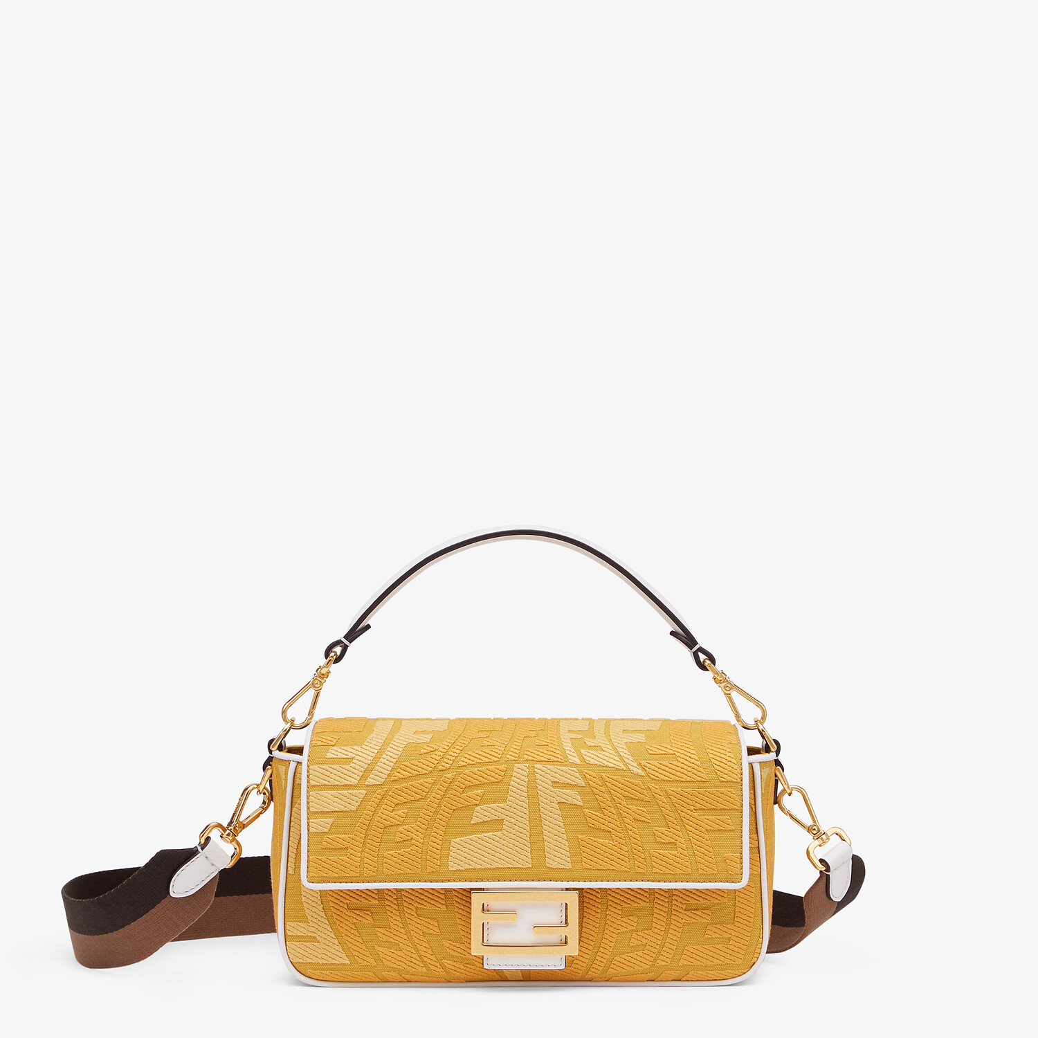 FENDI BAGUETTE - Embroidered yellow canvas bag - view 1 detail