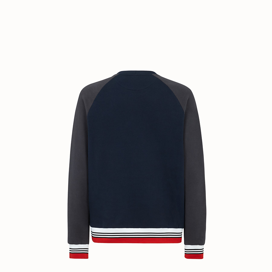 FENDI SWEATSHIRT - Blue cotton jersey sweatshirt. - view 2 detail