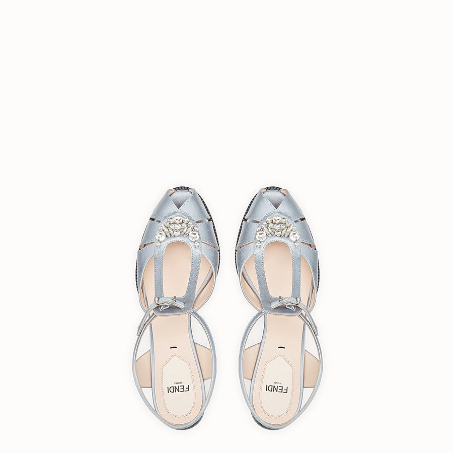 FENDI SANDALS - Grey satin sandals - view 4 detail