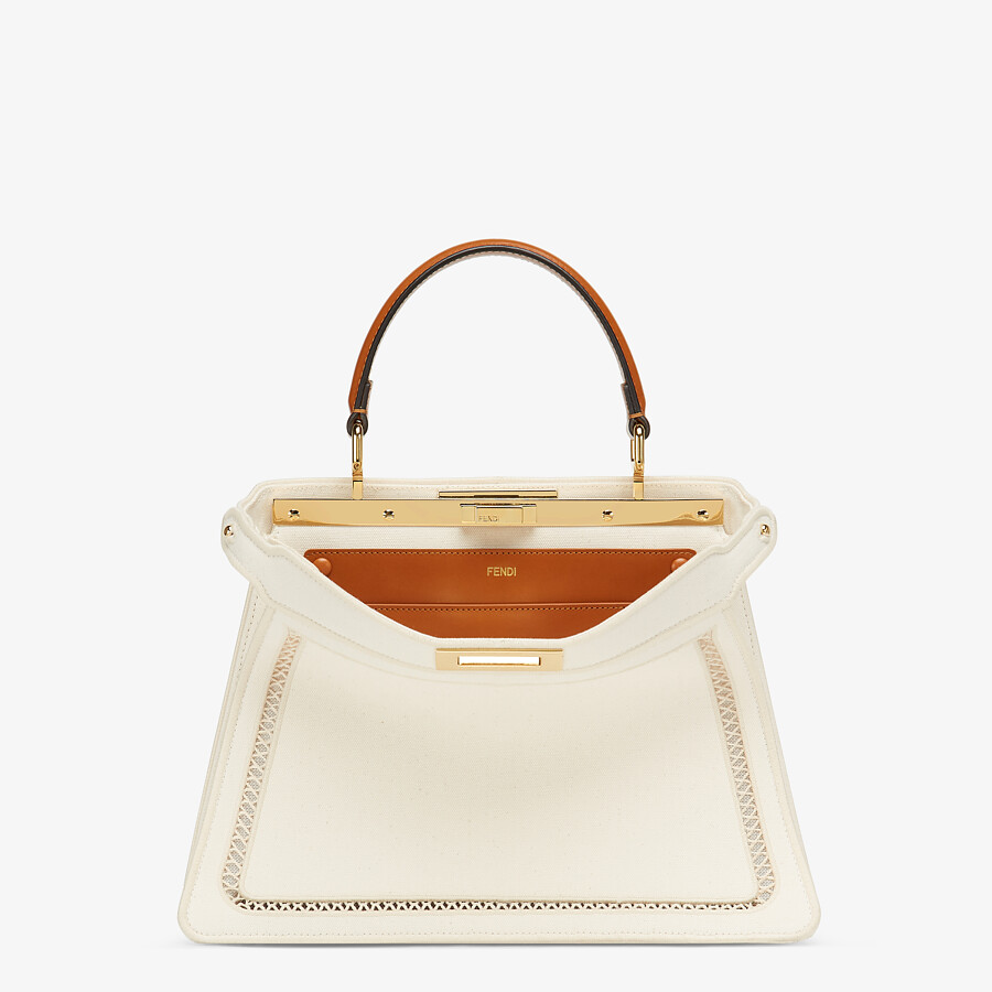 FENDI PEEKABOO ISEEU MEDIUM - White canvas bag with embroidery - view 1 detail