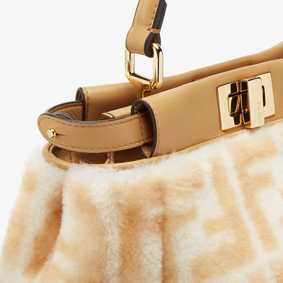 FENDI MINI PEEKABOO ICONIC - FF print white sheepskin bag - view 5 detail