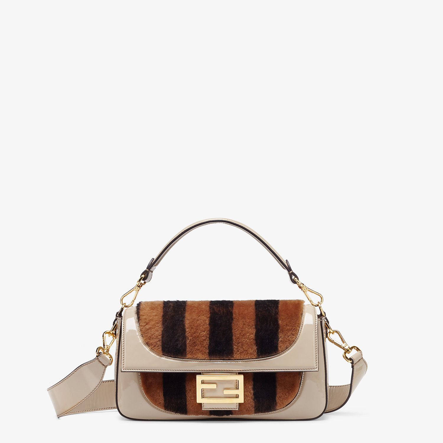 FENDI BAGUETTE - Multicolour, patent leather and sheepskin bag - view 1 detail