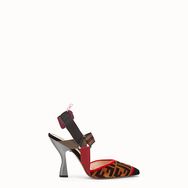 FENDI DÉCOLLETÉ - Slingback in tessuto multicolor - vista 1 thumbnail piccola