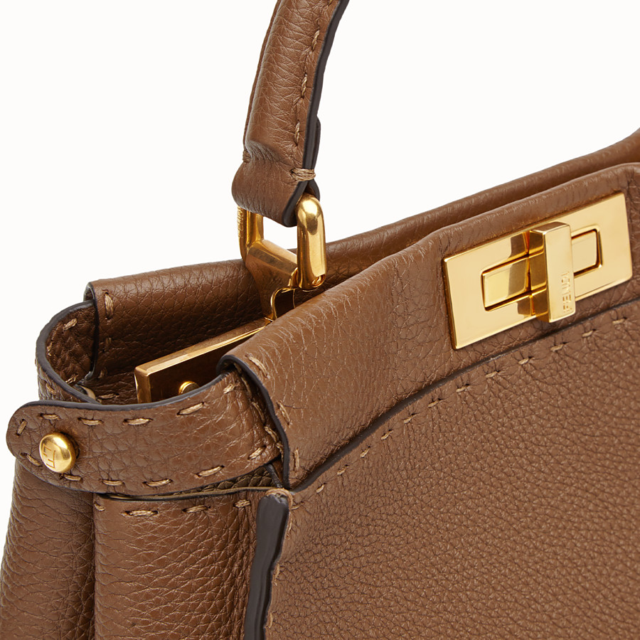 FENDI PEEKABOO REGULAR - Brown leather bag - view 6 detail