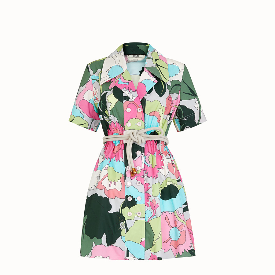 FENDI DRESS - Multicolour poplin dress - view 1 detail