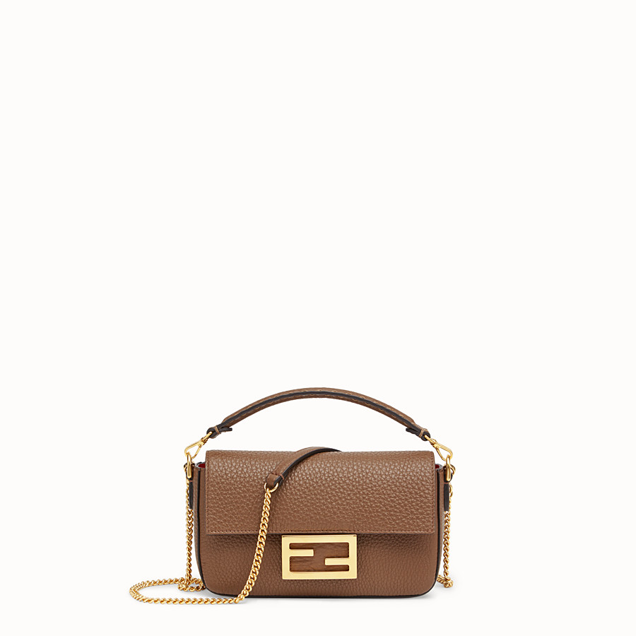 FENDI MINI BAGUETTE - Brown leather bag - view 1 detail