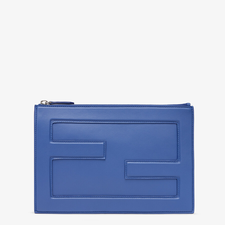 FENDI BAGUETTE BIG POUCH - Blue leather bag - view 1 detail