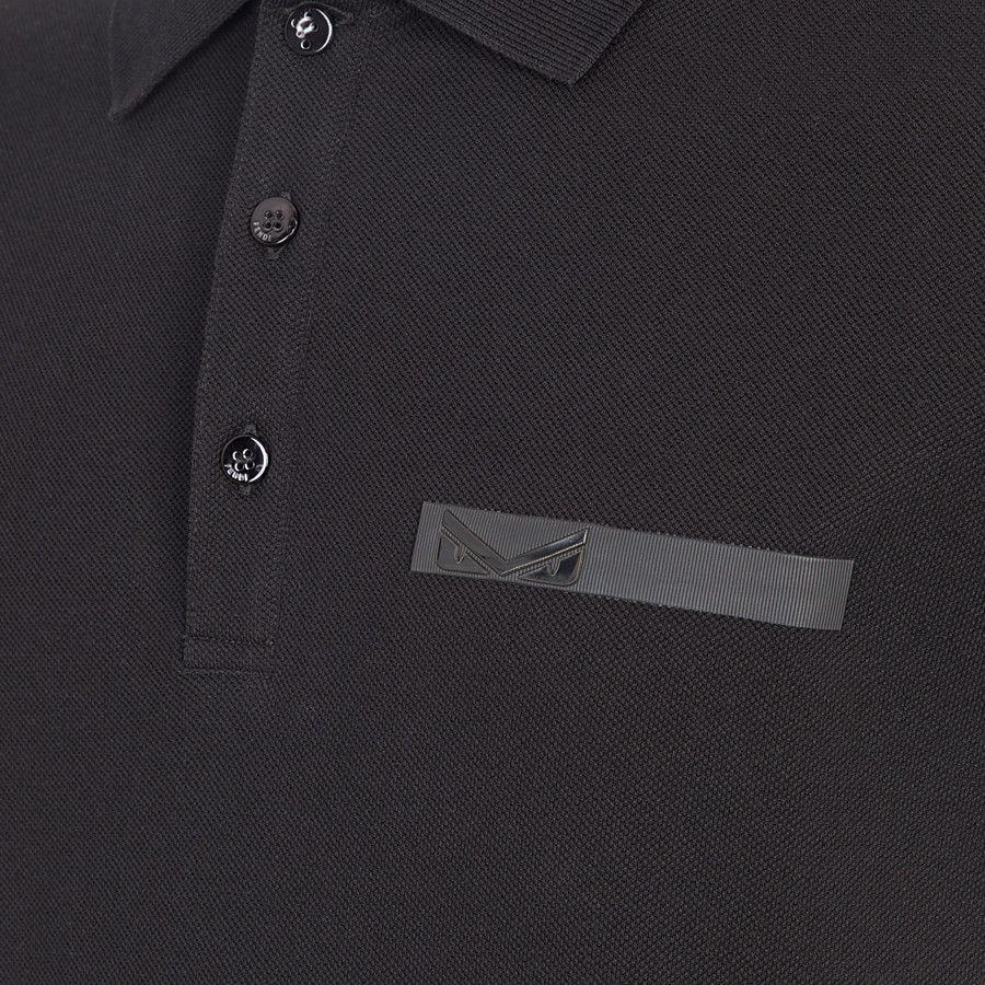 FENDI T-SHIRT - Black cotton polo shirt - view 3 detail