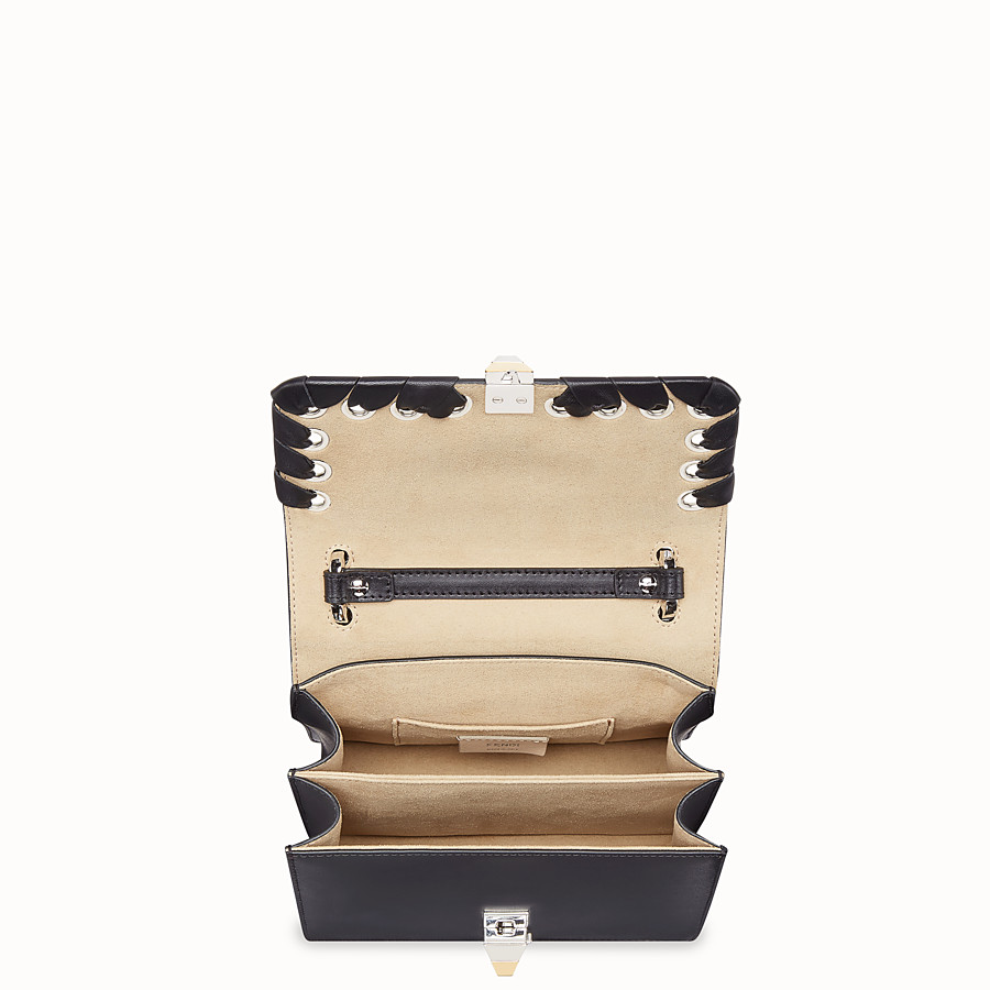 FENDI KAN I SMALL - Black leather mini-bag with exotic details - view 4 detail