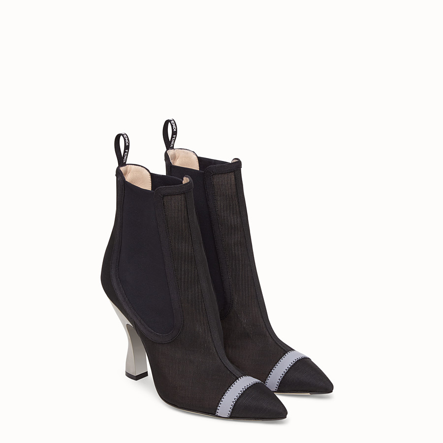 FENDI BOOTS - Black mesh booties - view 4 detail