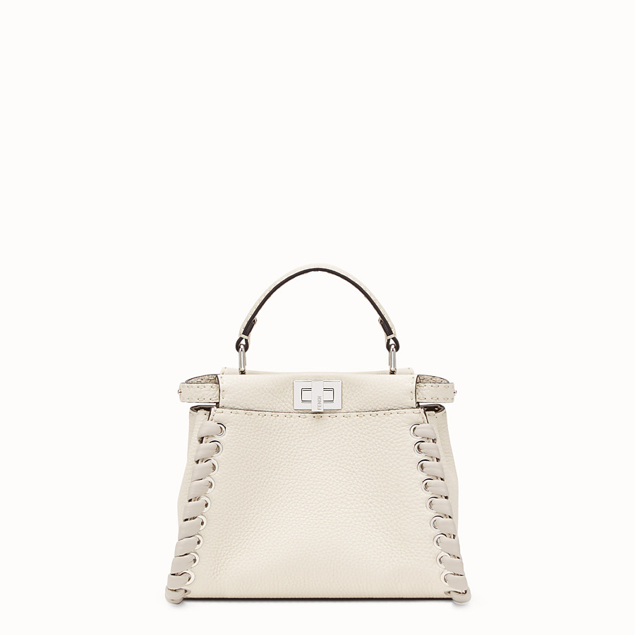 FENDI PEEKABOO MINI - White leather bag - view 1 detail