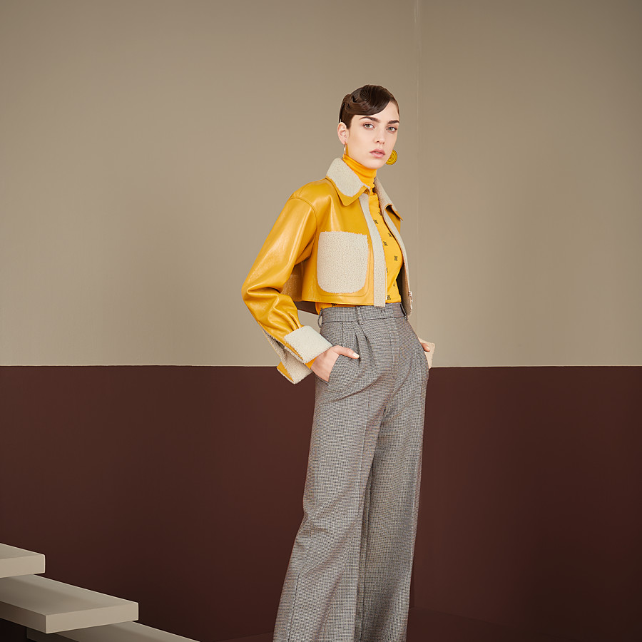 FENDI PULLOVER - Yellow wool and silk jumper - view 4 detail