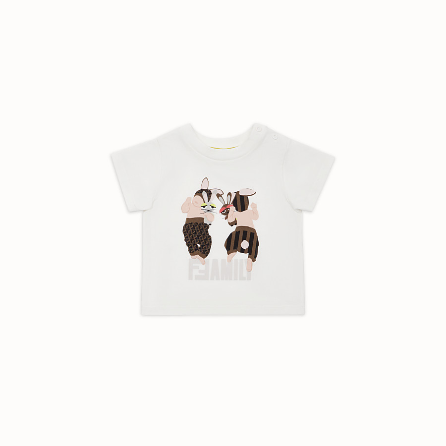 FENDI T-SHIRT - White cotton Baby T-Shirt - view 1 detail