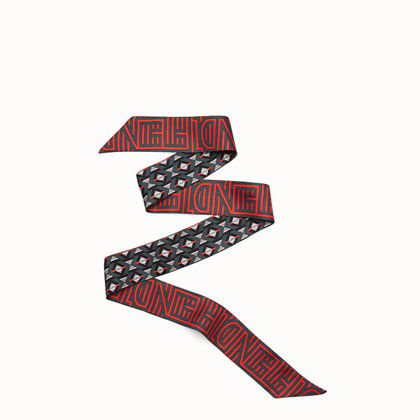 FENDI FENDI STRIPY WRAPPY - Bandeau in red and black silk - view 1 small thumbnail