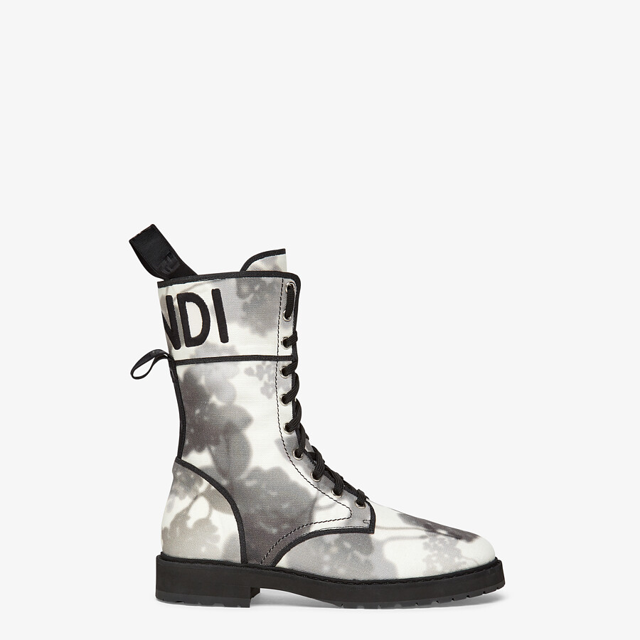FENDI SIGNATURE BIKER BOOTS - Gray canvas boots - view 1 detail