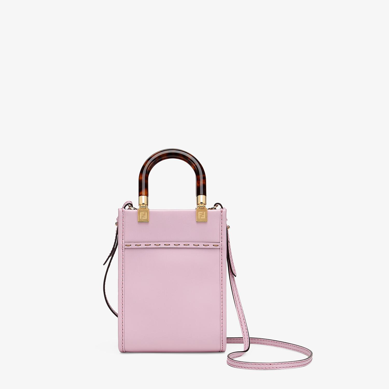 FENDI MINI SUNSHINE SHOPPER - Pink leather mini-bag - view 4 detail