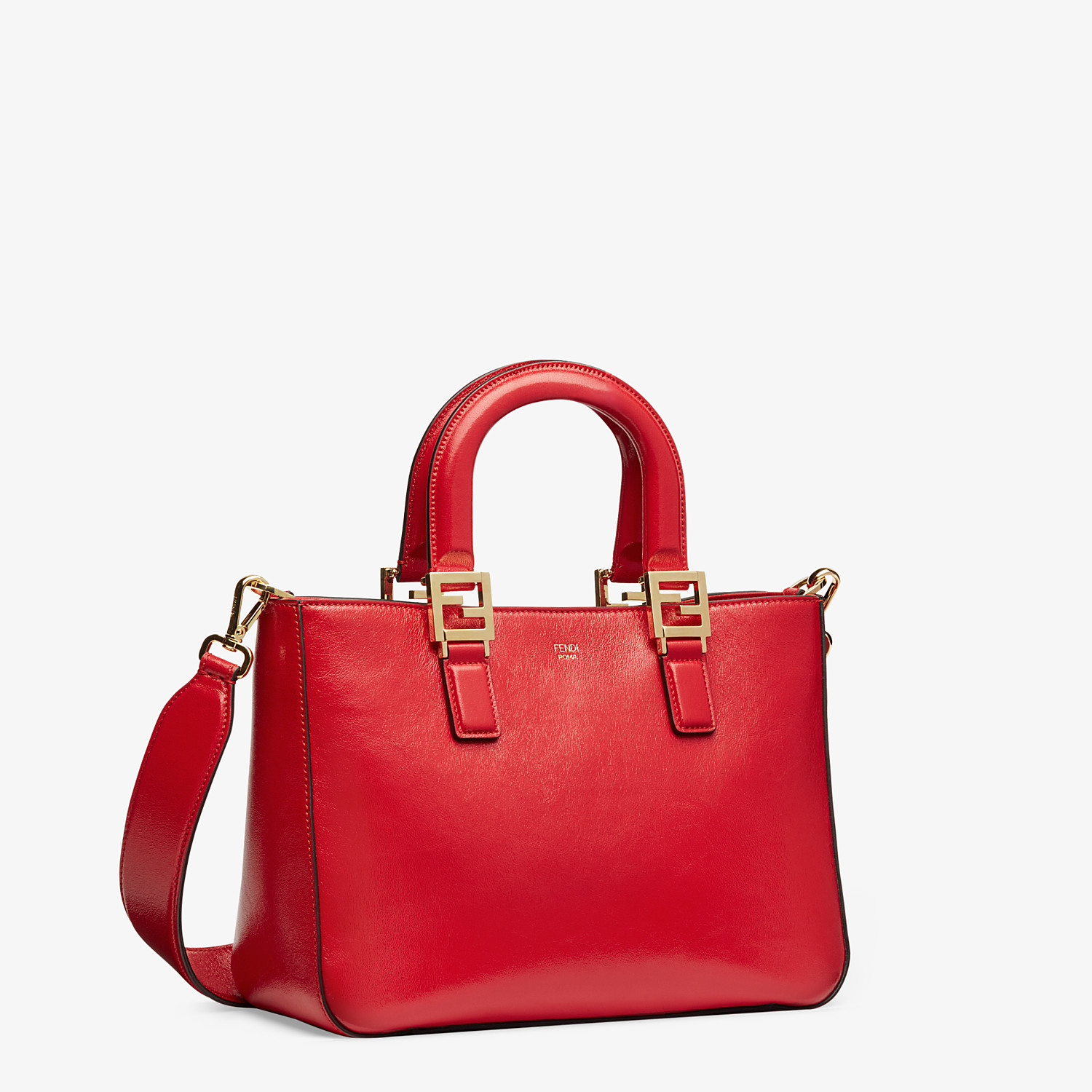 FENDI FF TOTE SMALL - Red leather bag - view 3 detail