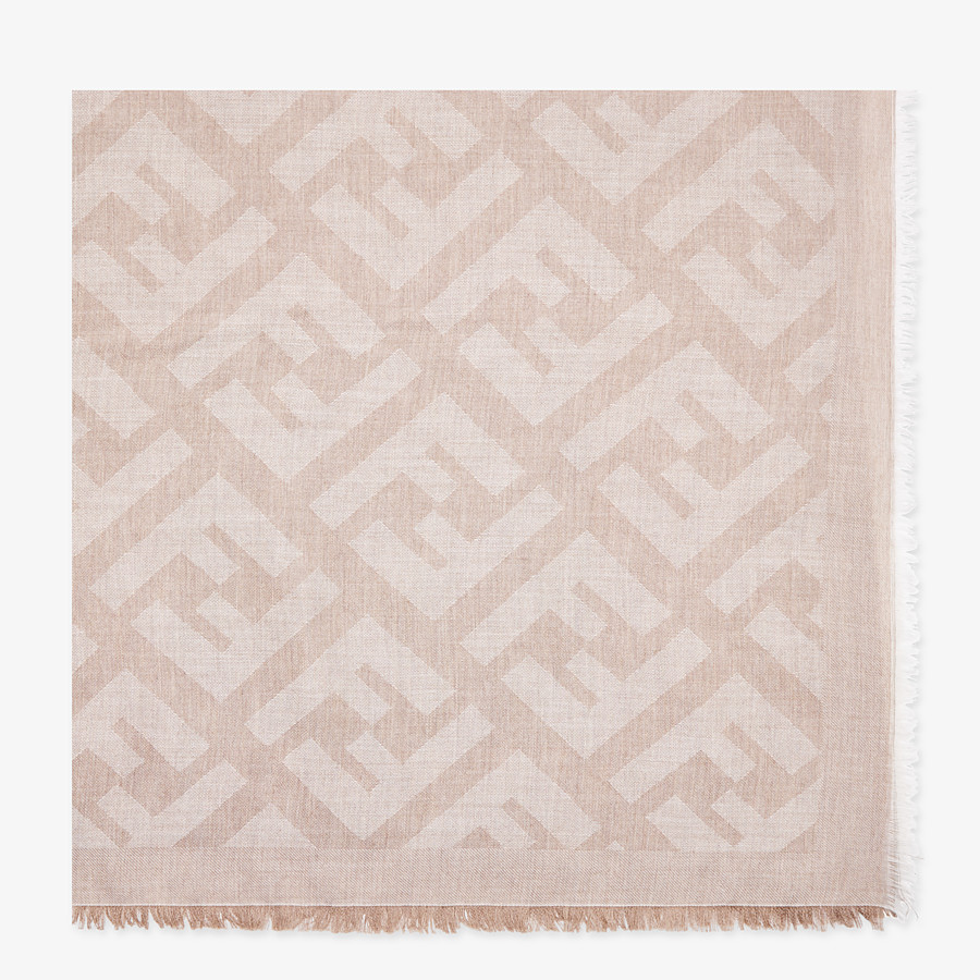 FENDI FF SHAWL - Beige cashmere and viscose shawl - view 1 detail