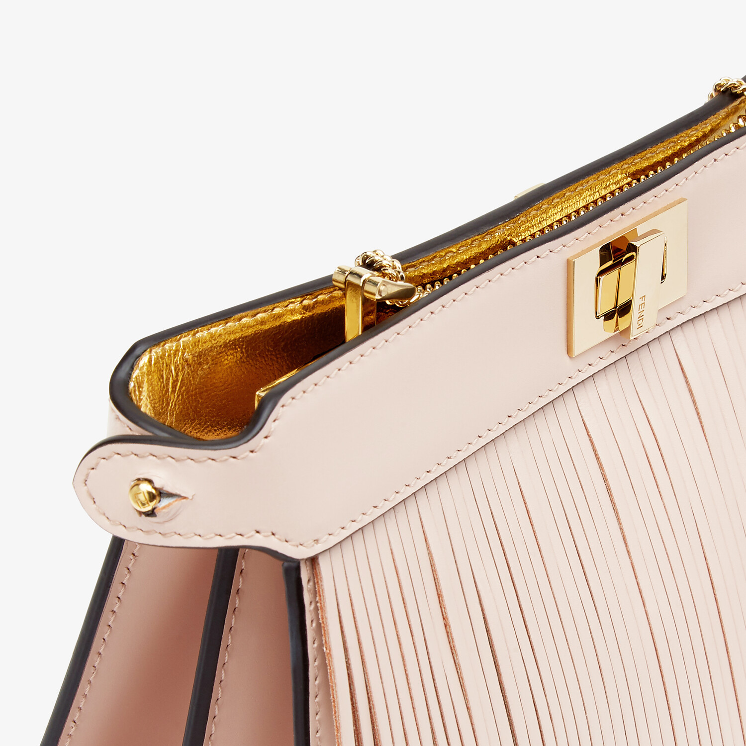 FENDI PEEKABOO I SEE U POCHETTE - Pink leather bag with fringes - view 6 detail