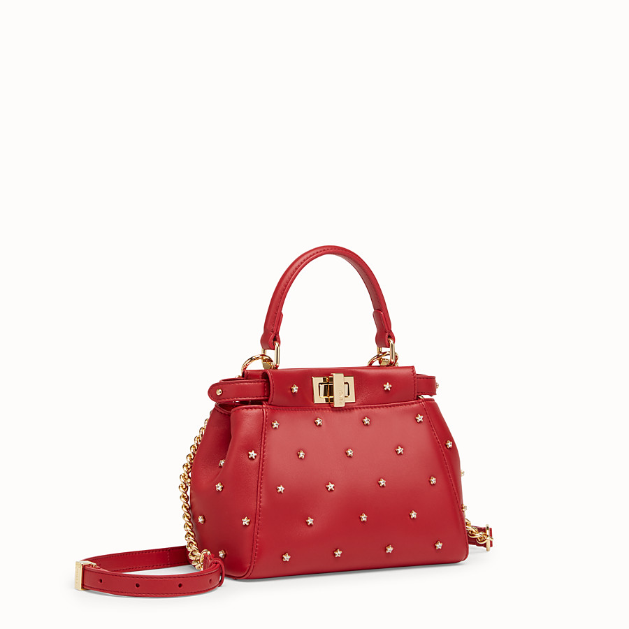 FENDI PEEKABOO ICONIC XS - Red leather mini-bag - view 2 detail