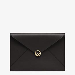 FENDI FLAT POUCH LARGE - Black leather pouch - view 1 thumbnail