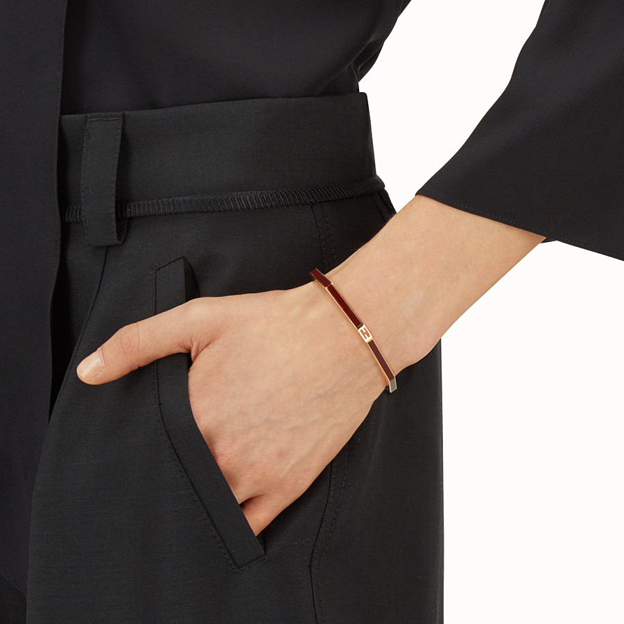 FENDI BAGUETTE BRACELET - Polished burgundy Baguette bangle - view 2 detail