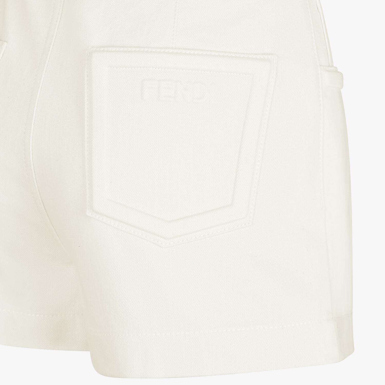 FENDI SHORTS - White denim shorts - view 3 detail