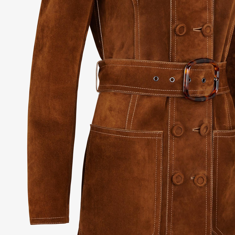 FENDI MANTEL - Trenchcoat aus Veloursleder in Braun - view 3 detail