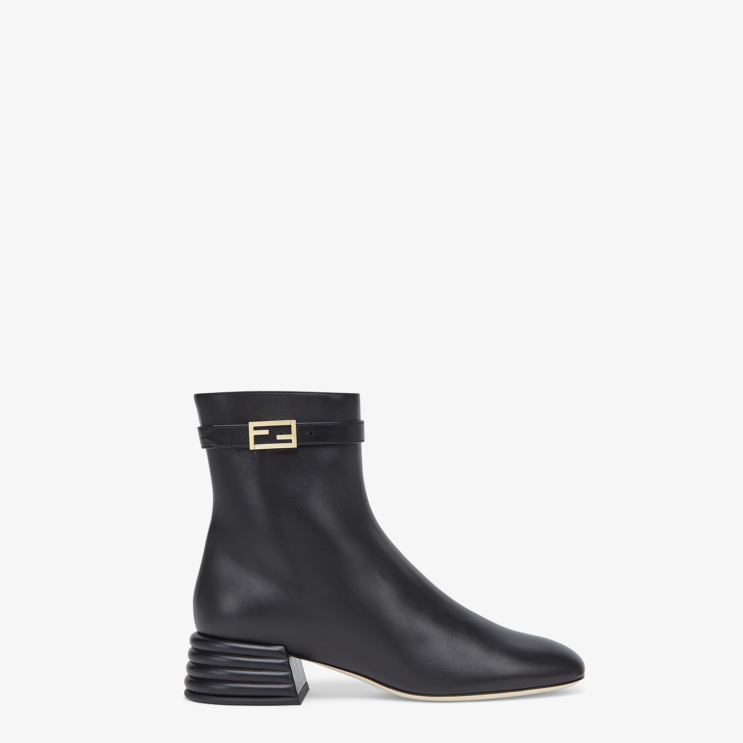 FENDI ANKLE BOOTS - Black leather booties - view 1 detail