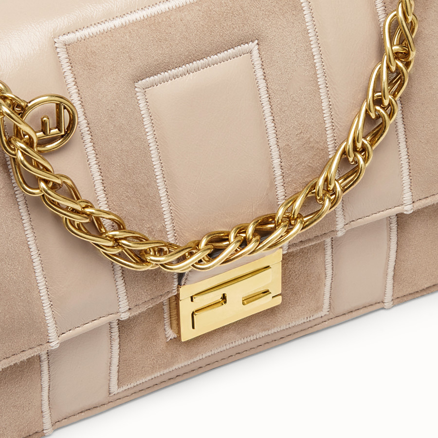 FENDI KAN U - Beige suede and leather bag - view 5 detail