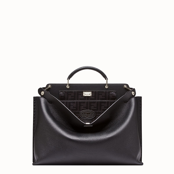 FENDI PEEKABOO ICONIC ESSENTIAL - 黑色皮革手袋 - view 1 小型縮圖