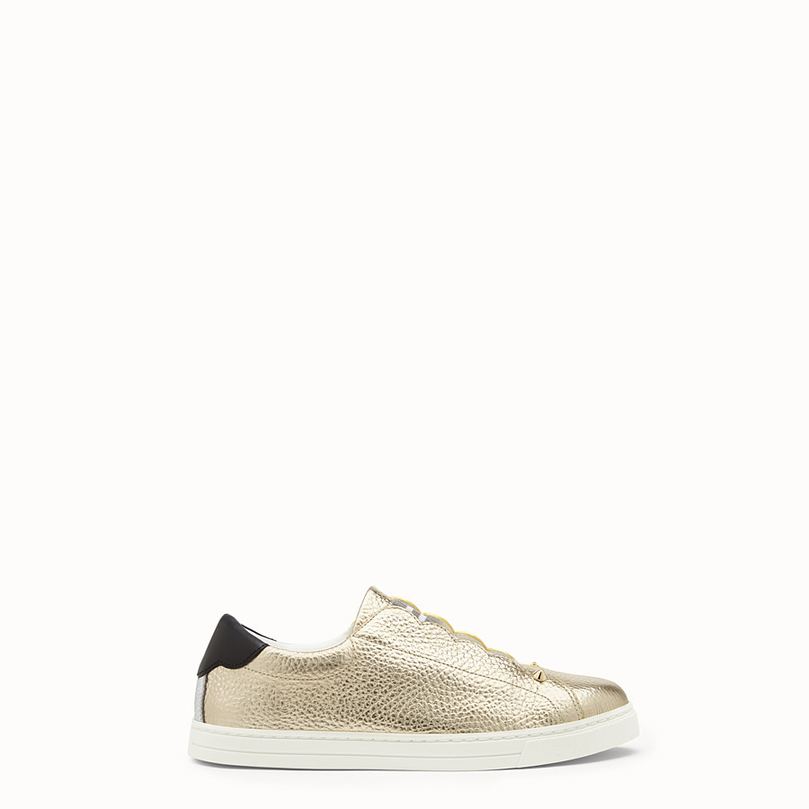 FENDI SNEAKERS - Golden leather sneakers - view 1 detail