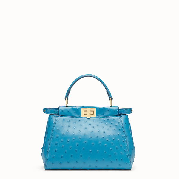 FENDI PEEKABOO ICONIC MINI - Light blue ostrich leather bag - view 1 small thumbnail