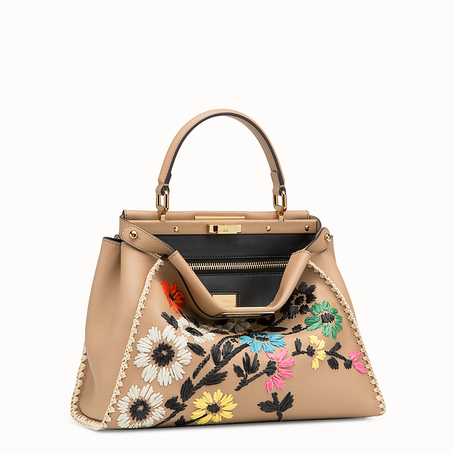 FENDI PEEKABOO REGULAR - Brown leather bag - view 2 detail