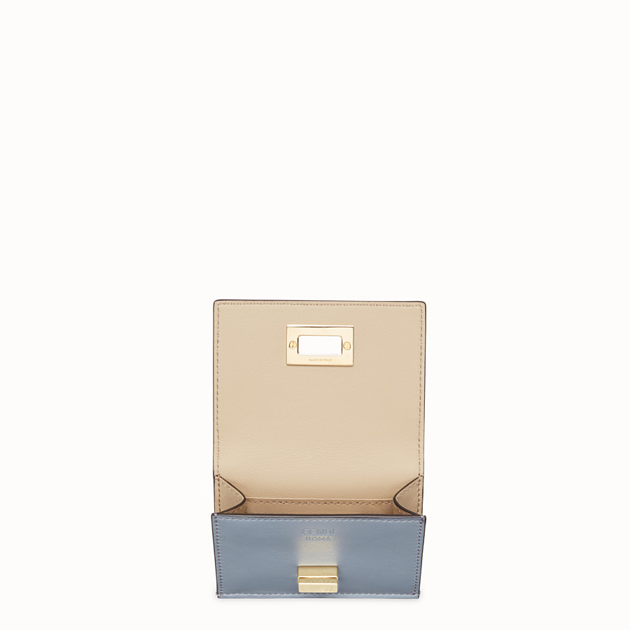 FENDI MICRO TRIFOLD - Pale blue leather wallet - view 3 detail