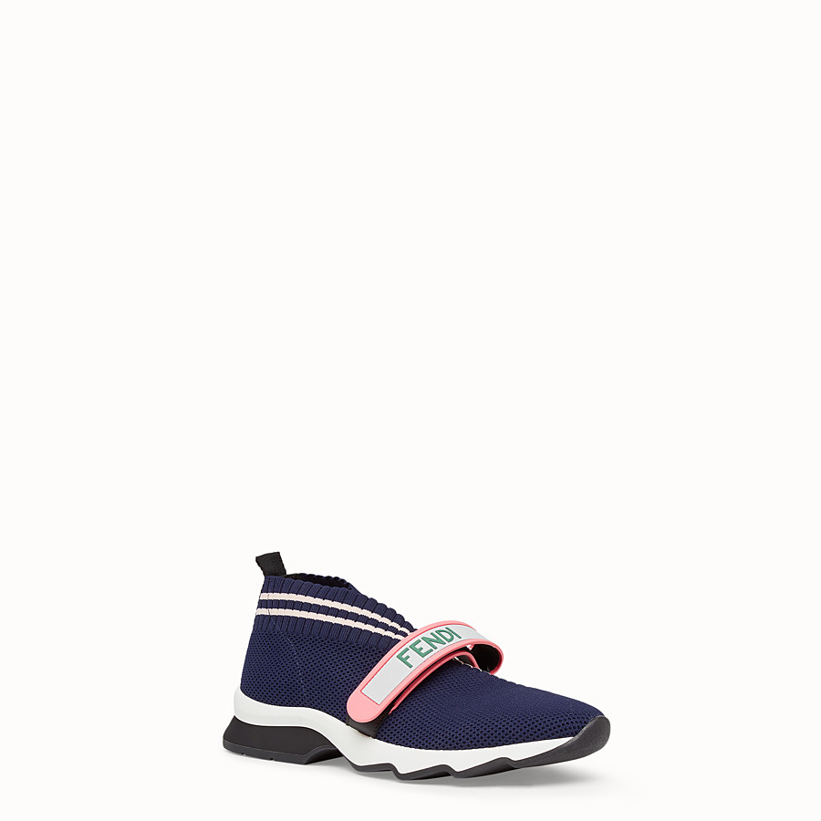 FENDI SNEAKERS - Blue fabric sneakers - view 2 detail