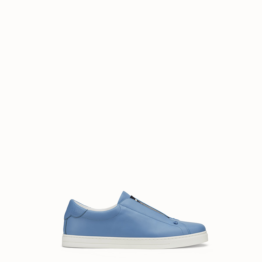 FENDI SNEAKERS - Pale blue leather slip-ons - view 1 detail