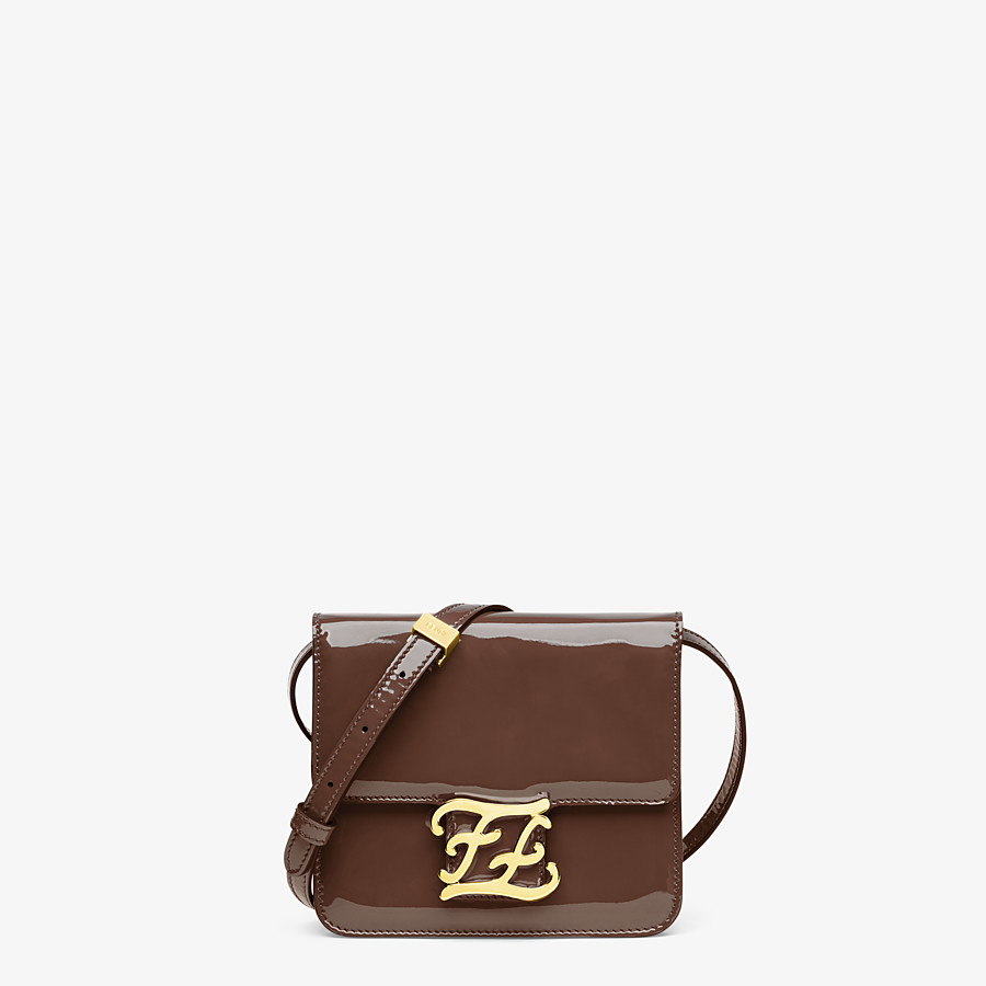 FENDI KARLIGRAPHY - Brown patent leather bag - view 1 detail