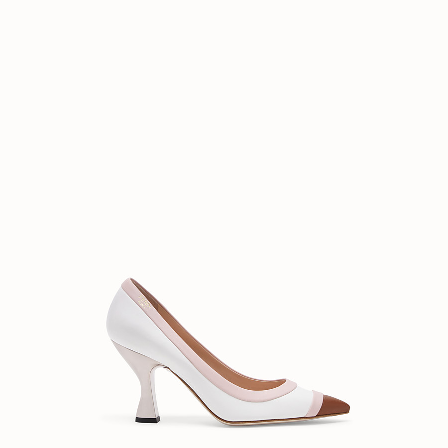 FENDI COURT SHOES - White nappa leather court shoes. - view 1 detail