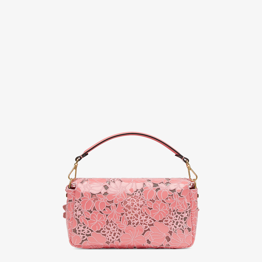 FENDI BAGUETTE - Embroidered pink patent leather bag - view 3 detail
